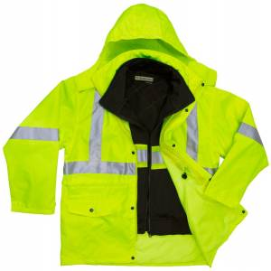 High Visibility 3-IN-1 Parka Jacket with Poly/Cotton Fleece Inner Jacket