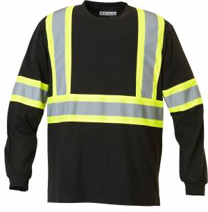 Safety 100% Cotton Long Sleeve T-Shirt with 4
